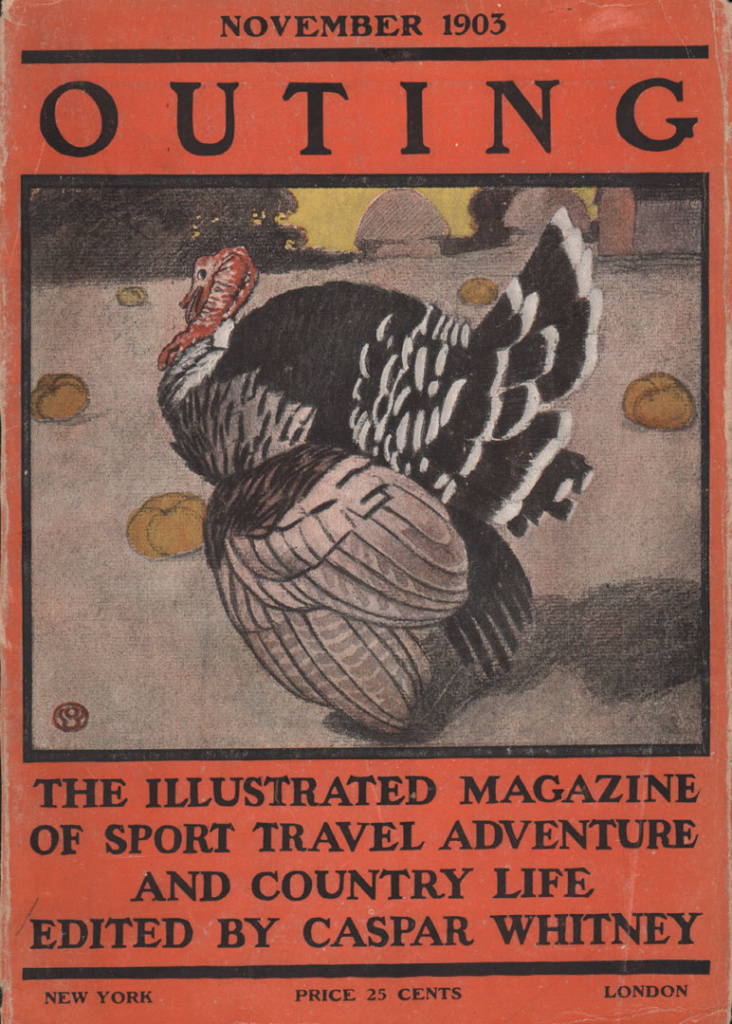 Outing cover showing an illustration of a male turkey