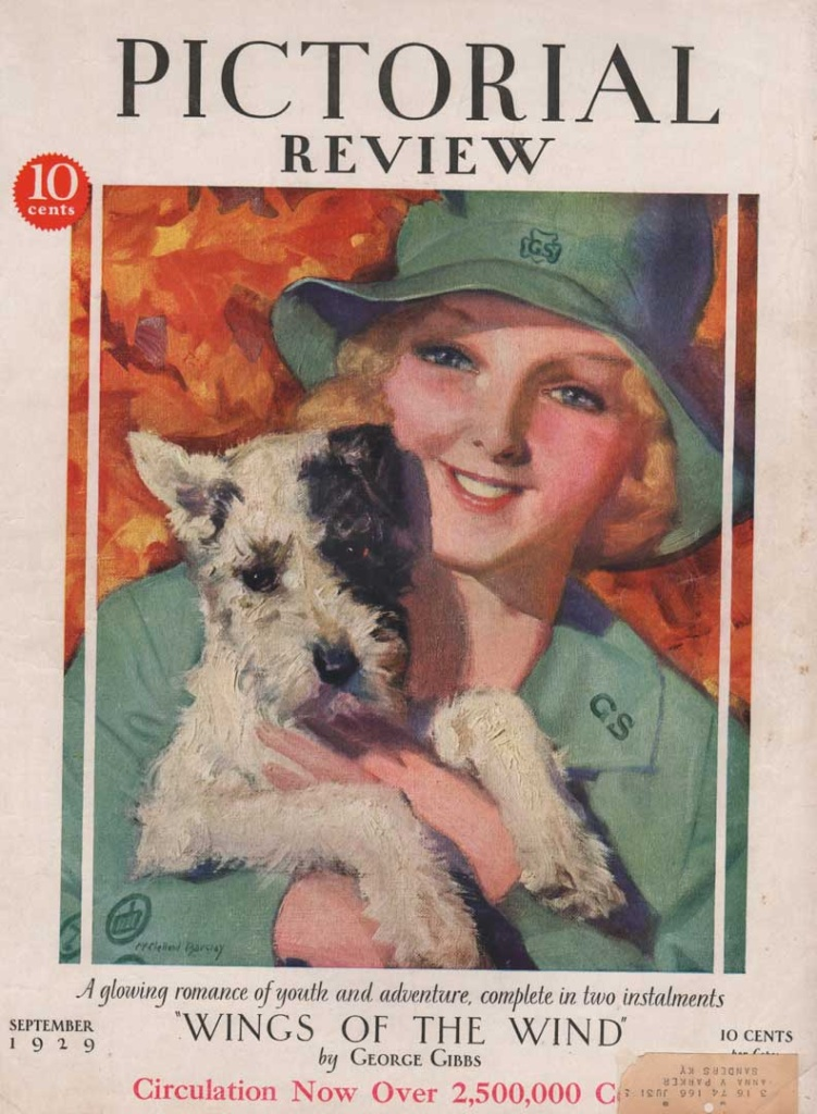 Pictorial Review, September 1929. Shows a woman holding a scottie dog.