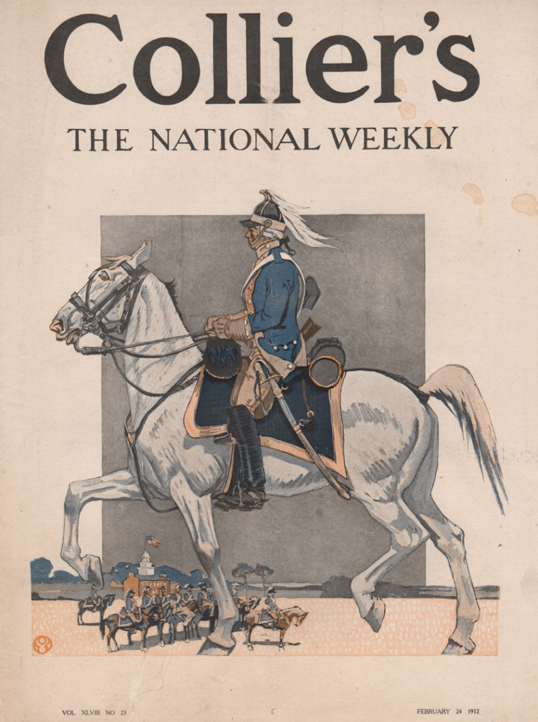 Soldier in blue uniform on a white horse large in front. Soldiers in background.