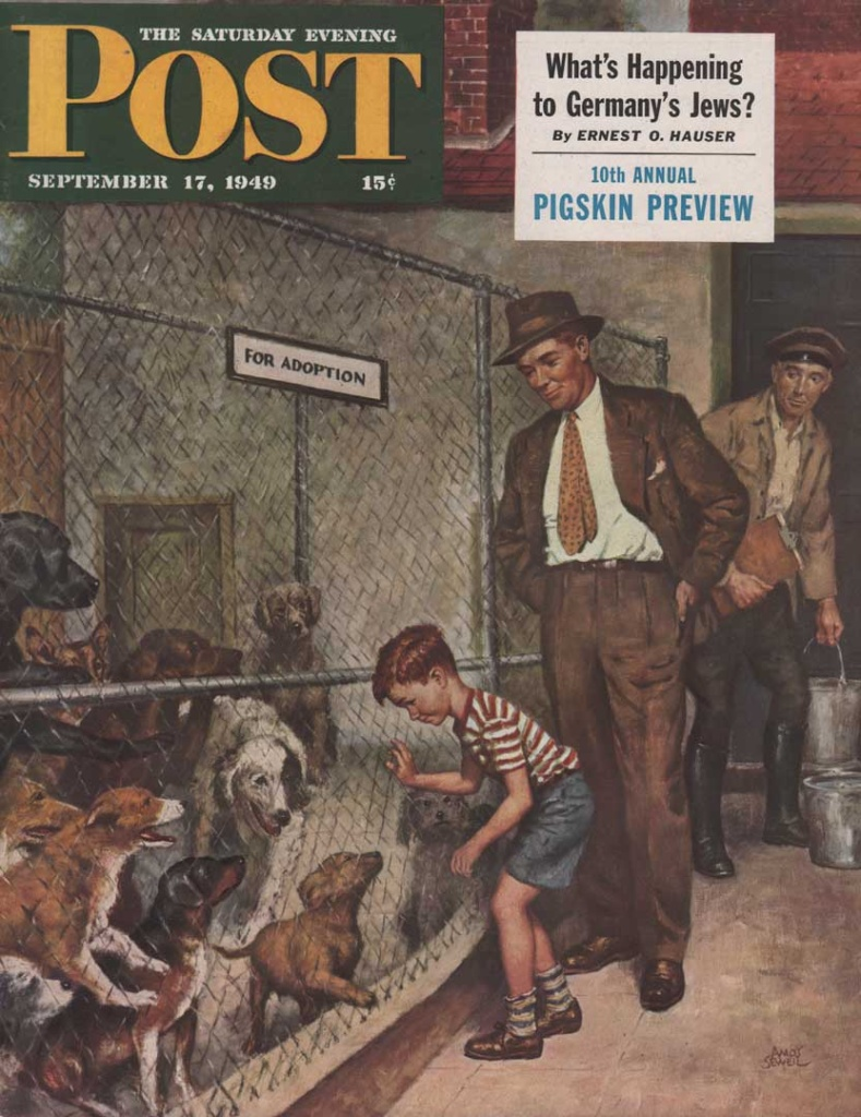 Saturday Evening Post cover from September 17, 1949. Shows a father and young boy looking at dogs in the pound. Illustrated by Amos Sewell.