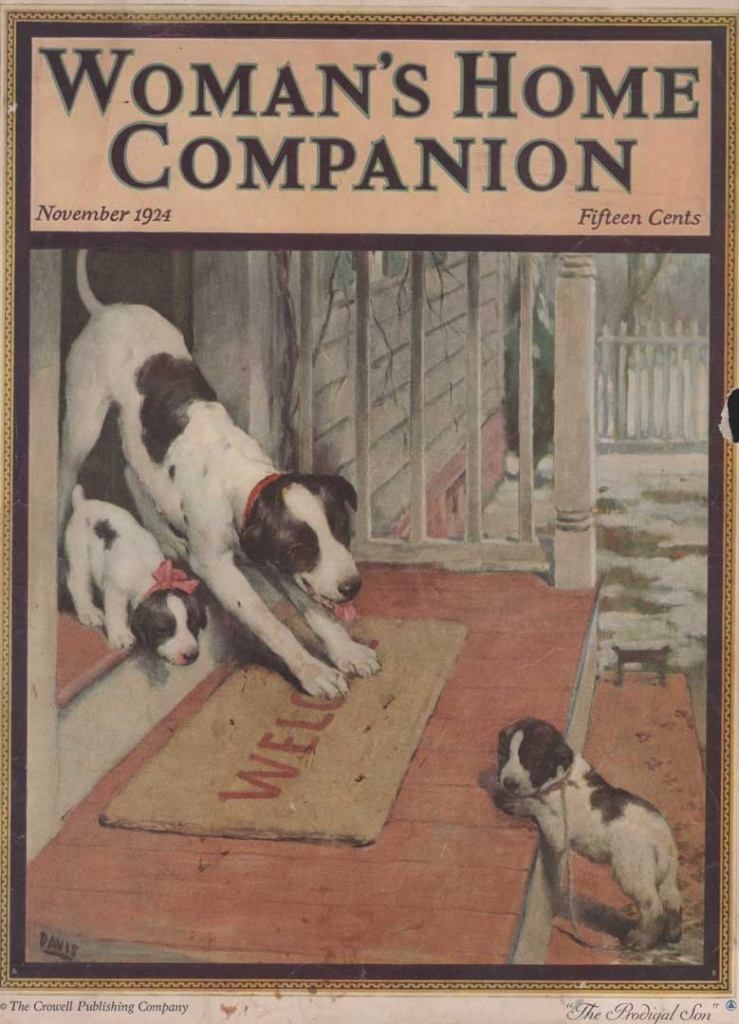 Woman's Home Companion, November 1924. Shows a dog and puppy on the front porch with another dirty puppy on the step. Illustrated by Warren Davis.