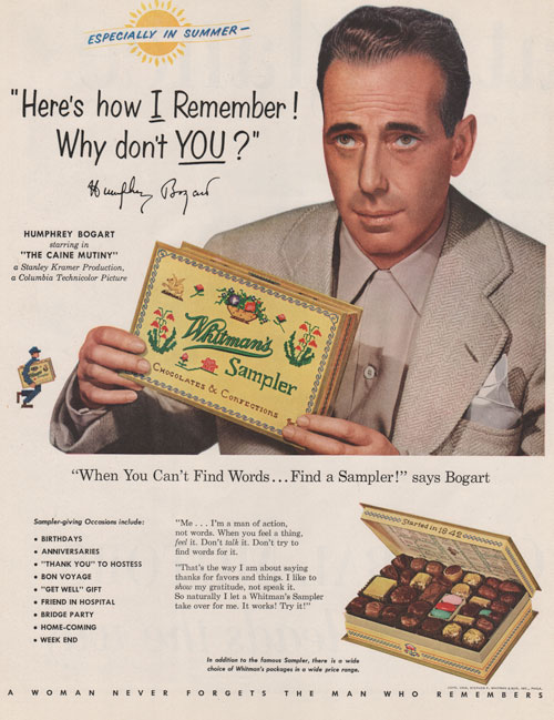 Whitman's Sampler Chocolate advertisement from 1954 featuring Humphrey Bogart