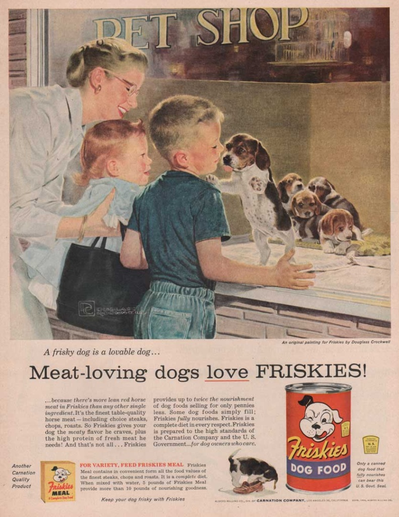 This is a vintage ad for Friskies brand dog food. It shows a woman with two children looking at puppies for sale at a pet shop. Painting by Douglass Crockwell.