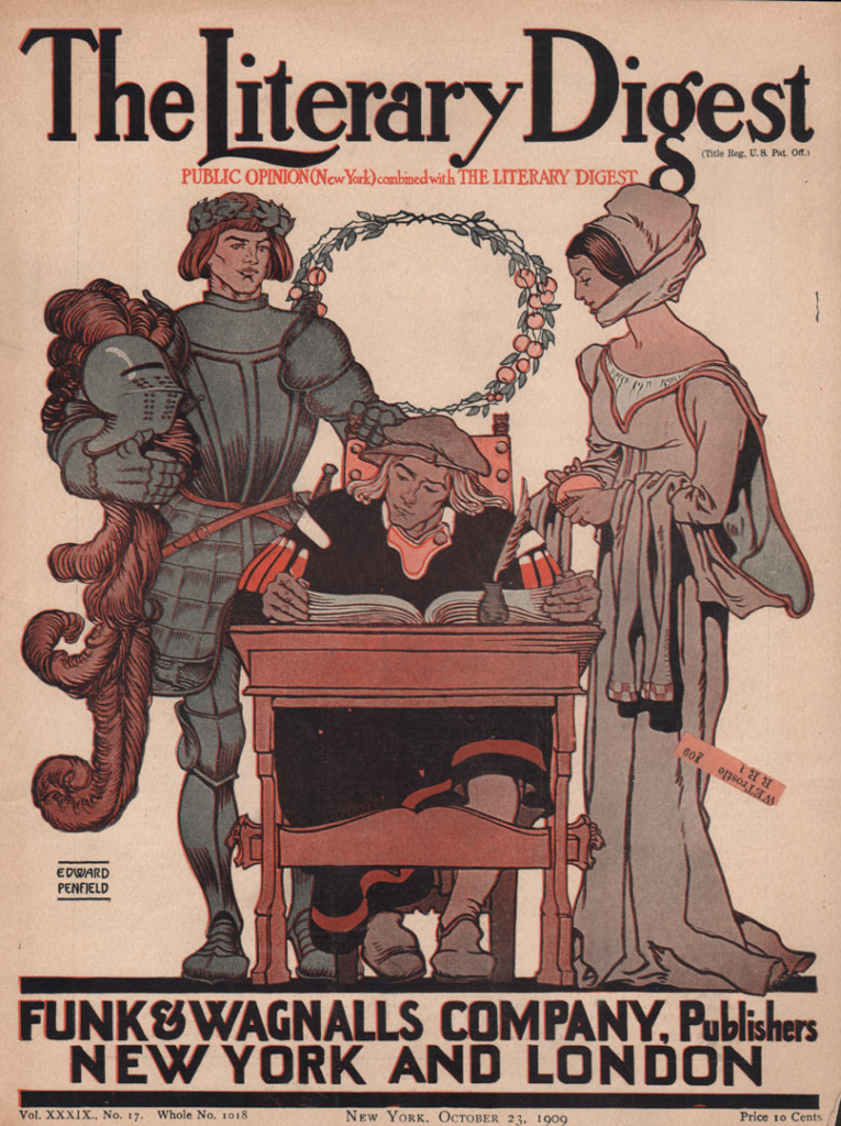 Literary Digest cover showing a scribe sitting at desk while knight in armor and elegant lady stand over him.
