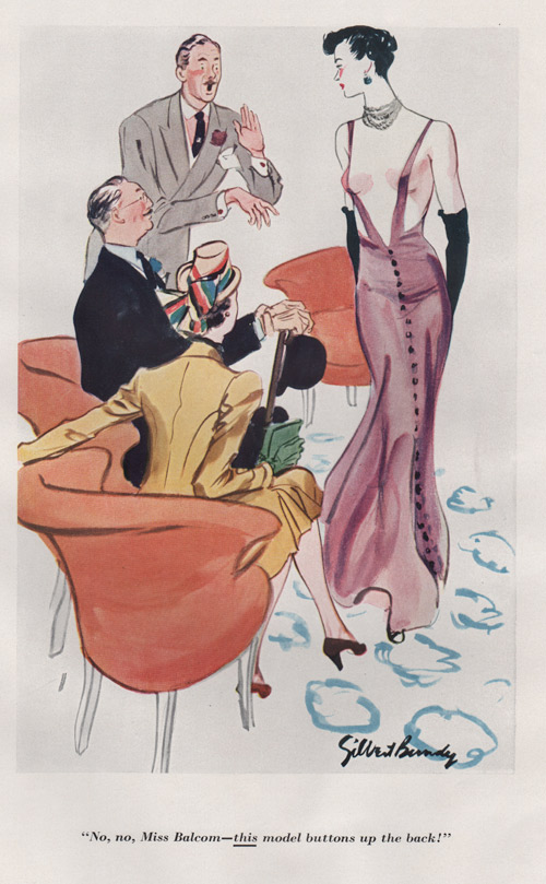 "Gilbert Bundy's illustration showing a woman in a dress that is put on backwards, with the caption, ""No, no, Miss Balcom - this model buttons up the back"""