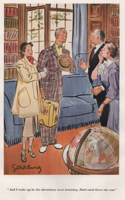 "Gilbert Bundy's illustration showing a couple with his parents in a drawing room. The son is saying, ""And I woke up in the dormitory next morning, Dad - and there she was."""