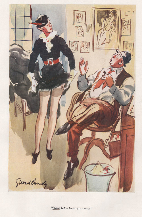 "Gilbert Bundy's illustration showing fat man sitting, saying to a woman, ""Now let's hear you sing."""