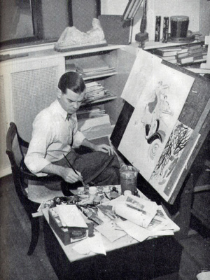 Gilbert Bundy Working in his studio in the late 1930s.