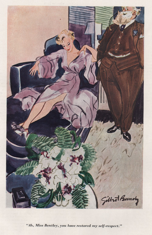 "Gilbert Bundy's illustration showing woman in purple dress sitting in a chair, with an older man looking on. Caption says, ""Ah, Miss Bentley, you have restored my self-respect."""