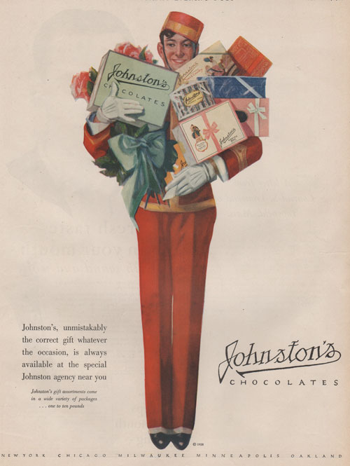Johnston's Chocolate advertisement from 1928 showing bell boy in red suit holding lots of presents, including the box of Johnston's chocolate.