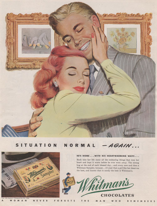 "Whitman's Chocolate Sampler advertisement featuring illustration by Ray Prohaska of a couple embracing after a fight with headline saying ""Situation Normal-again"""