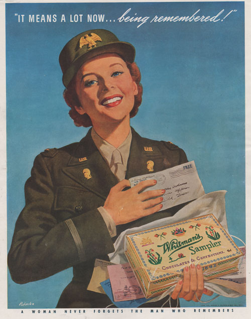 Whitman's Sampler Chocolate advertisement featuring art by Ray Prohaska showing military woman getting mail including box of chocolate.
