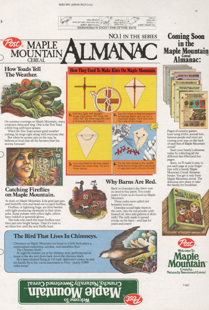 The back of Maple Mountain Cereal includes proposed almanac pages with interesting facts and information geared towards children.