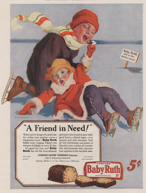 1927 ad for Baby Ruth candy bars featuring two children skating. The girl skater has fallen down and the boy is helping her up.