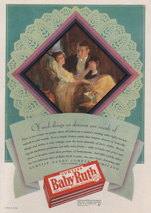 1929 ad for Baby Ruth Candy Bar showing illustration of a man and woman in the parlor eating chocolate.