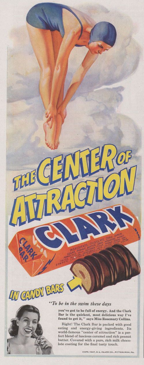 1947 ad for Clark candy bars showing a woman diving. Very vertical ad.