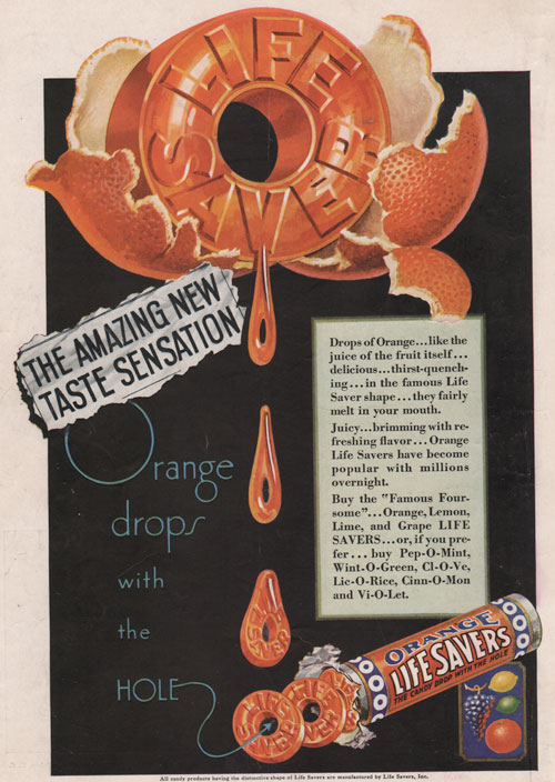 1930 Life Savers ad featuring the flavor orange as a new taste sensation.