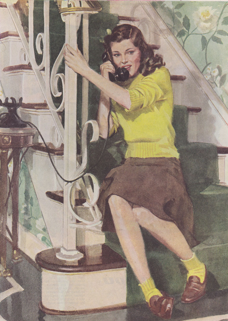 Good Housekeeping 1944-Woman sitting on stairs in yellow sweater on the phone-john gannam