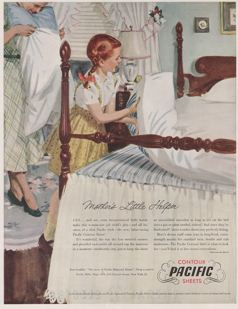 Pacific Mill Sheet ad - 1949 - showing a young girl helping make a bed - john gannam