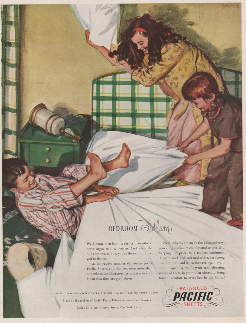 Pacific mills ad 1945 - showing family pillow fight - john gannam