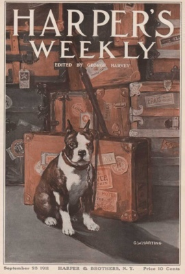 Harper's Weekly September 23, 1911 cover. Illustrated by G.W. Harting. Shows dog with suitcases and trunks.