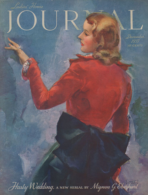 Ladies Home Journal cover December 1937. La Galla. Woman in red blouse