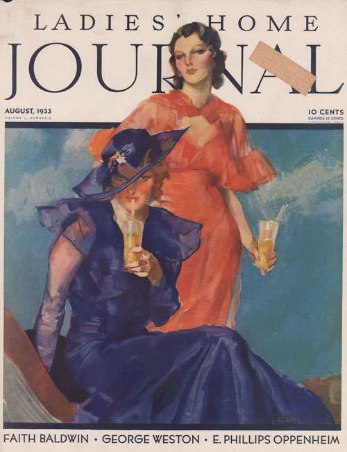 Ladies Home Journal - Cover - August 1933 La Galla. Two women having summer tea. One in red the other in blue dress.