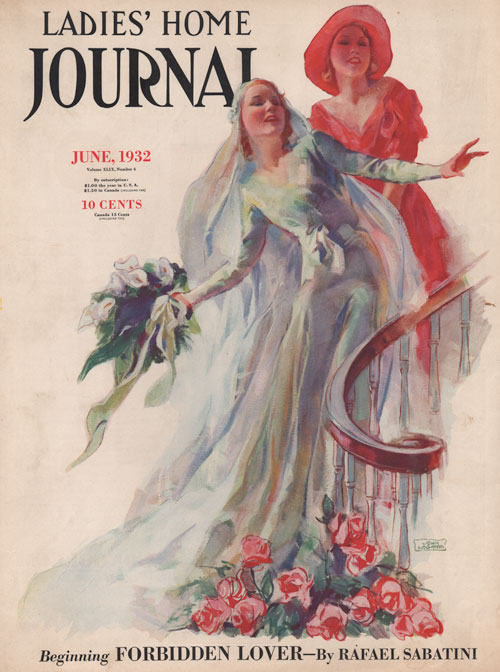 Ladies Home Journal - June 1932. La Galla. Bride coming down the stairs with woman in red behind her.
