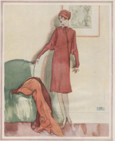 La Galla illustration in the WHC 1926. Fashionable woman in red dress standing next to a green chair.