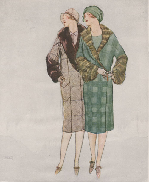 La Galla illustration in the WHC 1926. Fashionable women in coats. Left grey coat with dark brown fur and right green plaid with green fur collar.