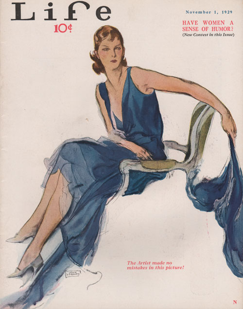 Life Cover - November 1, 1929. La Galla. Lady sitting in chair wearing blue dress.