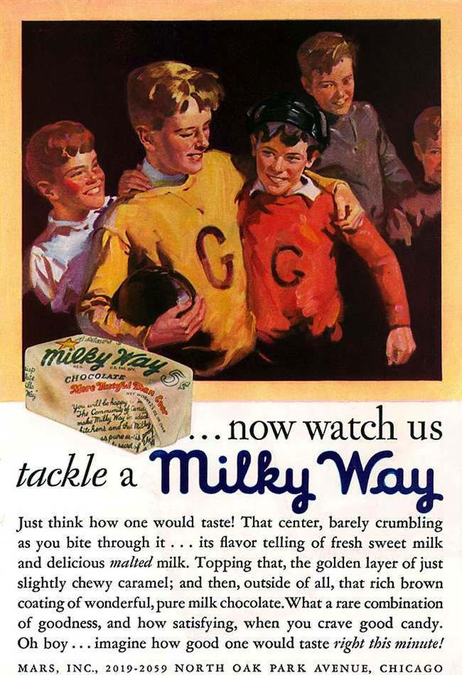 Milky Way ad from 1930 showing boys playing football with text 'now watch us tackle a milky way.' Prominant two boys are in yellow and red sweaters.