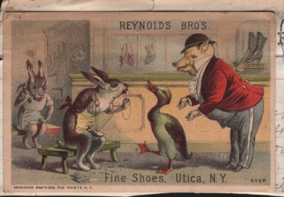 Trade Card for Fine Shoes, Utica, NY