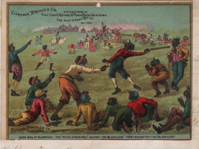 Card for a varnish maker featuring racial stereotypes from the 1880s.