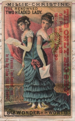 Trade Card two-headed lady