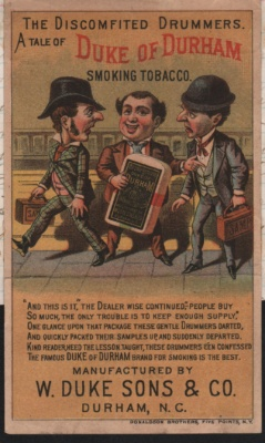A trade card novelty that unfolds to reveal the rest of tobacco sellers message.