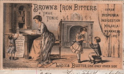 A trade card for a tonic medicine that also doubled as a blotter on the other side for letter-writing. Whenever used, the product name was front and center.