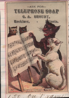 trade card singing cats