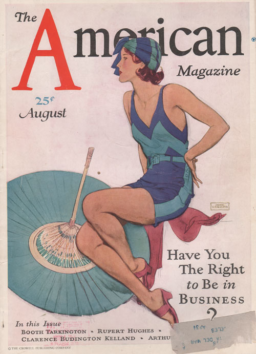 The American Magazine - Cover by La Galla. August 1930. Woman in fashionable swimsuit.
