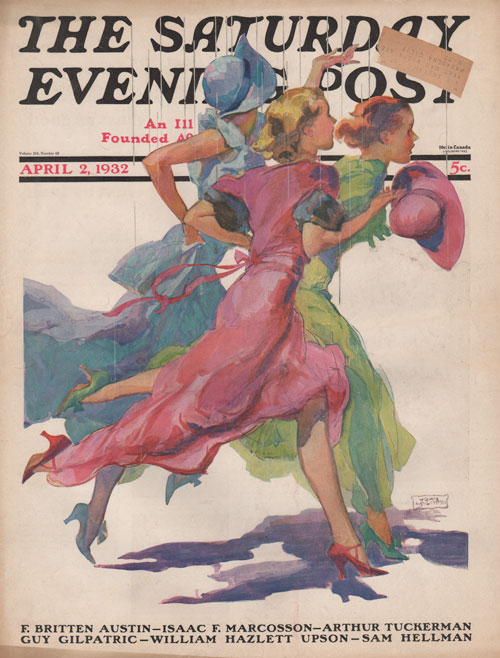 The Saturday Evening Post Cover 4-2-32. La Galla. Three ladies running from the rain.