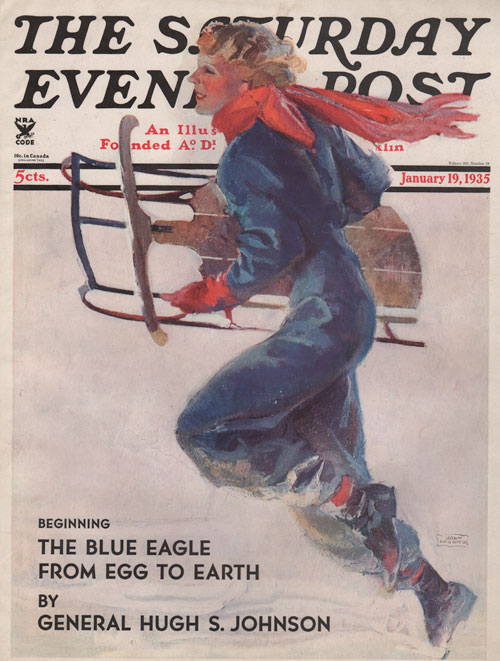 The Saturday Evening Post cover - January 19, 1935. La Galla. Lady with a runner sled running.