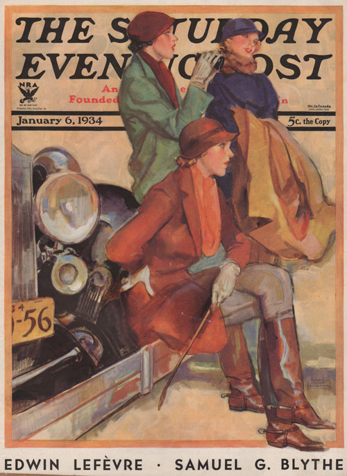 The Saturday Evening Post Cover - January 6, 1934. La Galla. Three people waiting at the horse show on a bumper of a car.