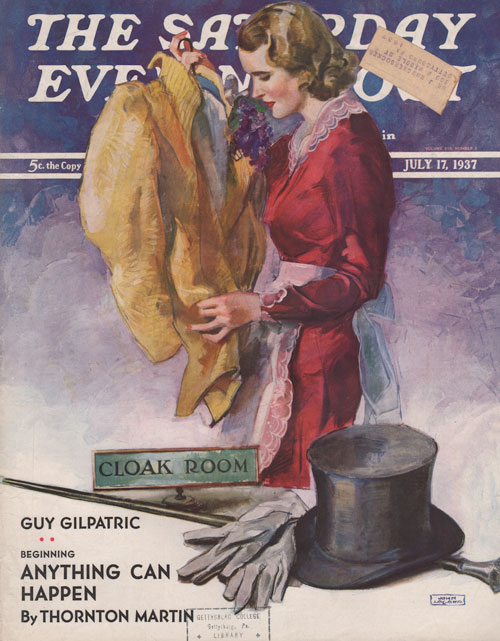 The Saturday Evening Post cover - July 17, 1937. La Galla. Woman in red dress holding man's coat with hat, cane and gloves on foreground.