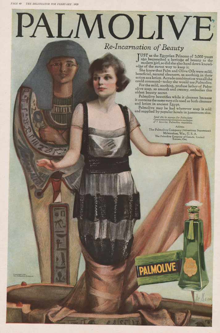 Palmolive vintage soap ad illustrated by McMein. Woman in front of Egyptian statue