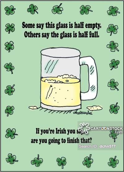 """Cartoon of a beer mug half-filled. The caption says others may ask if the glass if half-empty or half-filled but the Irish ask, """"Are you going to finish that?"""" Little shamrocks decorate the border."""