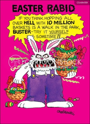 A crazed rabbit stands before you with Easter baskets in hand challenging you to try delivering 10 million baskets.