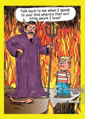 The devil in hell is talking to his young son. There's lots of fire in the background. The devil wants to know why his son isn't wearing an evil little smirk and talking back to him.