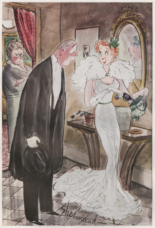 "Barbara Shermund illustration of woman and make suitor with mother looking cross. Woman is putting a gun in her purse and saying, ""Oh you know how mothers are, Mr. Parker - always worrying."" Circa 1937"
