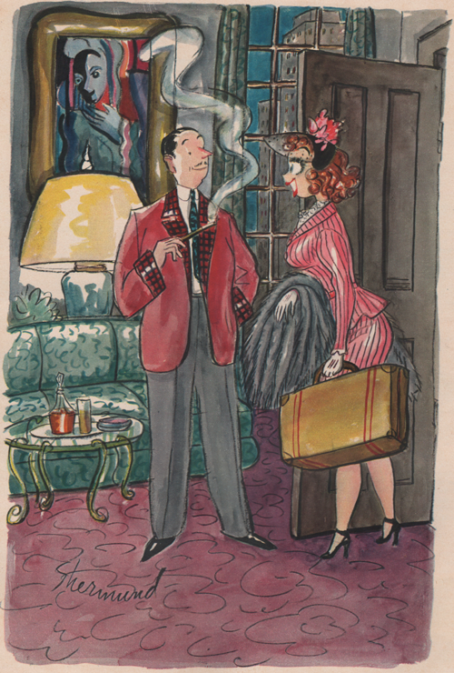 "Barbara Shermund illustration of a woman with luggage entering the home of a gentleman saying, ""He thinks I've gone home to Mother."" Circa 1950s"