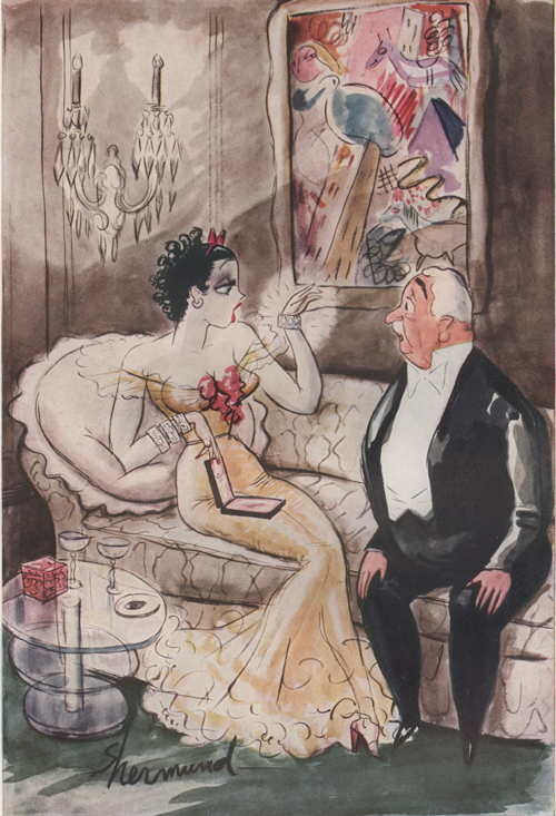 "Barbara Shermund illustration of a woman and an older gentleman caller sitting on the couch together. Woman is holding a gift and looking at a shiny bracelet saying, ""It's nice, Mr. Talbot - but I haven't finished paying for the one Mr. Millberg gave me."" Circa 1937"